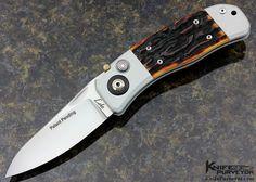 "•••$16,000•••Ron Lake Prototype Custom Knife ""Cimmaron"" Integral Amber Jigged Bone Piston Lock with Safety Lock - Ron Lake custom knife - image 1"
