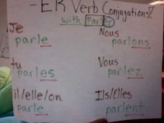 memorize present tense -er verb endings to the tune of frere jacques. would like to have my students make their own video.