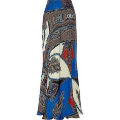 Etro Printed silk maxi skirt (290435 RSD) ❤ liked on Polyvore featuring skirts, blue, maxi skirt, colorful skirts, multi colored maxi skirt, long colorful skirts and floor length skirt