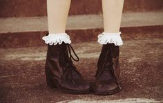 My sister loves the boots and the lace socks. Gyaru, Preppy Style, My Style, Fade Styles, Lace Socks, Sock Shoes, Boy Fashion, Passion For Fashion, Women's Accessories