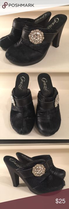 Grazie size 6 faux fur with black rhinestone clog Grazie size 6 black faux fur clogs with rhinestone embellishment. In used condition. Grazie Shoes Mules & Clogs