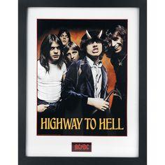 """AC/DC - Highway To Hell  - kehystetty kuva - 30 x 40 keräilykuva - 25 mm kehys - särkymätöntä styreeniä  For Those About To Rock: We Salute You! Kun AC/DC:n nuoret jätkät toimittivat Beatlesin ja The Rolling Stonesin rock'n'roll klassikoista muodostuvan ohjelmansa Chequers Clubille Sydneyhyn 1973, kukaan ei uskonut tämän bändin nousevan yhdeksi tämän planeetan suurimmista bändeistä. Meillä on legendaarisen """"Highway To Hell"""" -albumin seuraksi tämä """"Highway To Hell"""" -kuva mustassa kehyksessä…"""