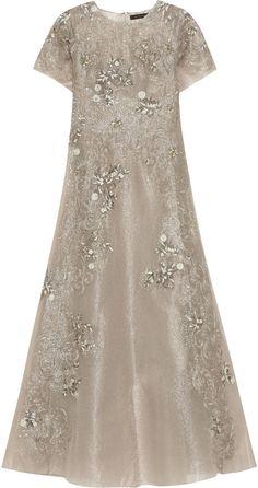 Biyan Gita Embellished Metallic Tulle Maxi Dress