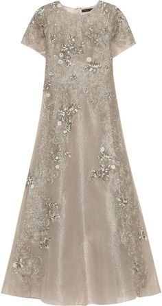Biyan Gita Embellished Metallic Tulle Maxi Dress