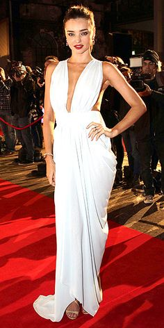 MIRANDA KERR The Victoria's Secret Angel channels her inner goddess in a draped, sheer, pale blue gown and Jimmy Choo sandals at the InStyle Women of Style awards in Sydney.