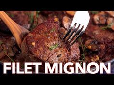 Easy, excellent recipe for filet mignon. The mushroom sauce is mouthwatering and… Easy, excellent recipe for filet mignon. The mushroom sauce is mouthwatering and tastes gourmet. This filet mignon recipe is perfect for any occasion! Pan Seared Filet Mignon, Filet Mignon Steak, Mushroom Wine Sauce, Mushroom Cream Sauces, Mushroom Recipe, Cooking App, Cooking Recipes, Cooking Ideas, Steaks