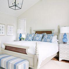 Neutral Bedroom wall color. Neutral Bedroom wall color. Neutral bedroom with blue and white decor. #NeutralBedroomwallcolor #NeutralBedroompaintcolor Waterleaf Interiors.