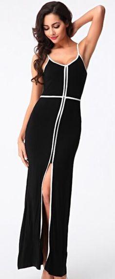Black And White Color Block Formal Dresses