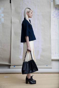 Look 6 Hana utility shirt Aya tie waist culotte Hino shoe boot Kyoto large bag