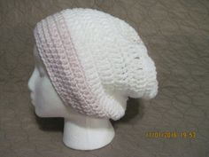 white and pink slouchy by HatsForHumansByCarol on Etsy