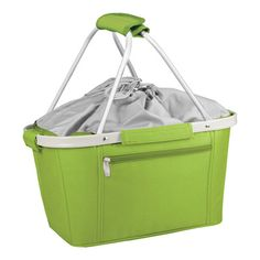Features:  -Expandable drawstring top.  -Durable carrying straps that velcro together.  -Zippered pocket on side of the tote for easy storage.  -Strong aluminum frame.  -Basket material: aluminum fram