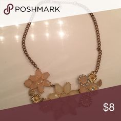Ladies floral fashion necklace Peach and nude floral necklace with copper or brass chain flowers embellished with diamond like rhinestones and gold overlay. Jewelry Necklaces