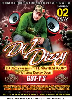 """Best South African DJ - DJ Dizzy at GOT-T'S Pub on 2 May 2015. Only R20.00 Entrance. Presenting the """"Mayhem Tour"""" Free CD give-away. Club Dance Music, Slush Puppy, Edm, Entrance, African, Tours, Free, Entryway, Door Entry"""