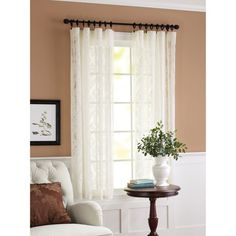 """(Short) Better Homes and Gardens Lace Damask Curtain Panel, 56"""" x 63"""", Cream $8.97 : Walmart"""