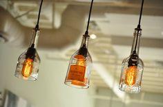 Recycling-Glas-Flasche Gin Lampe Hängeleuchte mit von MoonshineLamp