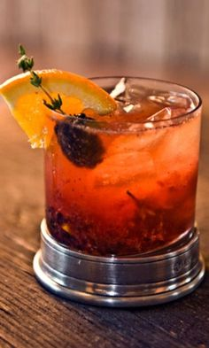 bourbon cocktail for fall: 2 oz. bourbon 1 brown sugar cube dashes of Fee Brothers Orange Bitters blackberries 1 orange wedge 1 thyme sprig Splash of club soda Garnish: thyme-blackberry (blackberry poked through with a thyme sprig) Party Drinks, Fun Drinks, Yummy Drinks, Alcoholic Drinks, Beverages, Craft Cocktails, Bourbon Cocktails, Cocktail Drinks, Cocktail Shaker