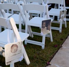 Hanging Photos for Chairs at Wedding Ceremony or by MadeForYou7141, $100.00
