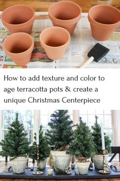 Create a unique Christmas centerpiece with these beautiful DIY aged clay pots from Life on Kaydeross Creek Mini Christmas Tree, Country Christmas, All Things Christmas, Christmas Time, Christmas Ideas, Christmas Swags, Christmas Wishes, Christmas Christmas, Holiday Ideas