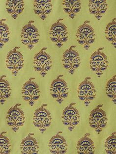 Memories of Shalimar ~ Asian India Green Fabric Swatch Green fabric sample swatch with stylized floral motifs in navy blue and chocolate, outlined with gold. Textile Fabrics, Textile Prints, Textile Patterns, Textile Design, Fabric Design, Print Patterns, Pattern Design, Print Fabrics, Lino Prints