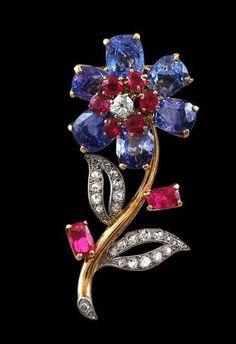 CARTIER Sapphire,Ruby & Diamond Flower