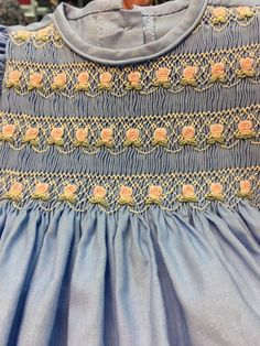 Multiple rows of the same pattern Smocking Plates, Smocking Patterns, Baby Girl Frocks, Frocks For Girls, Little Girl Outfits, Cute Outfits For Kids, Baby Girl Frock Design, Punto Smok, Dress For Girl Child