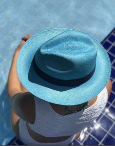 Chapéu de Palha Panamá Montecristi Toquilla Azul 89aebec9501