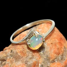 Natural Ethiopian Opal 925 Sterling Silver Hand Made Ring Jewelry us 8.25 #Unbranded #Ring #MOTHERSDAY