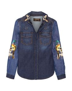 189bcb6270184 Roberto Cavalli | Blue Embroidered Denim Shirt | Lyst Embroidered Denim  Shirt, Upcycled Textiles,