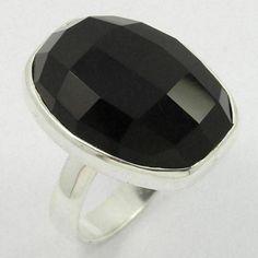 925 Sterling Silver Elegant Ring Size US 6.75 Real BLACK ONYX Checker Gemstone #Unbranded Silver Jewellery Indian, Black Onyx Ring, Sterling Silver Jewelry, 925 Silver, Gemstones, Elegant, Fashion, Classy, Moda