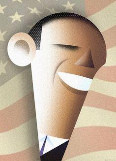 Illustration of President Barack Obama, by Bob Staake.