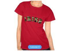 Ireland shape with vintage USA Irish flag, Style is Women's Hanes ComfortSoftT-Shirt, color is Deep Red Irish Design, Deep, Mens Tops, T Shirt, Flag, Color, Vintage, Ireland, Shape