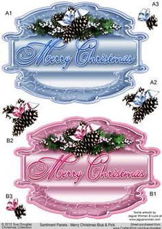 Sentiment Panels Merry Christmas Blue and Pink on Craftsuprint designed by Sue Douglas - These large decoupage Sentiment Panels are from my Christmas Collection. There are two sentiment panels included on the sheet with Christmas fir cone decorations decoupage, included. Two other sheets in different colour ways. are also available to purchase. Also available are backing sheets that match each of the Panels perfectly, please click on the related sheets option, to see them. If you would like…