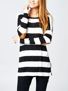 White Black Long Sleeve Striped T-Shirt - size M