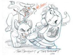 Disney Bro Jam: Cogsworth, Simba, and Mushu by tombancroft Cartoon Sketches, Disney Sketches, Disney Drawings, Cartoon Art, Cute Drawings, Film Disney, Arte Disney, Disney Fan Art, Disney Crossovers