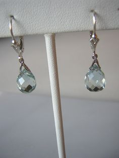 Aquamarine Earrings in Sterling Silver Multifaceted Briolet