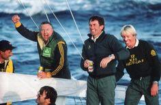 1983 _ Alan Bond and the Australia II crew. The year the Australian team breaks the United States' winning streak in the 1983 America's Cup.