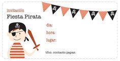 Invitaciones para fiestas de cumpleaños. Las puedes imprimir gratis en: http://dibujos-para-colorear.euroresidentes.com/2013/04/invitaciones-de-cumpleanos-de-piratas.html