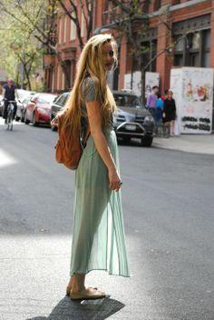 mint skirt + grey top