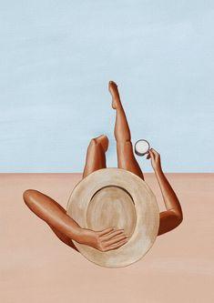 Woman swimmer art print Swim decor pool art made by Ivy Art Mural Rose, Arte Indie, Motif Art Deco, Pink Wall Art, Pink Walls, Masks Art, Graphic Illustration, Portrait Illustration, Floral Illustrations