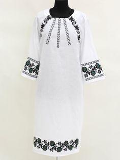 Платье белое с вышивкой - Etno - 3160821 Salwar Kameez, Kurti, Peasant Blouse, Embroidery Dress, Vintage Patterns, Casual Wear, Bell Sleeve Top, Costumes, Womens Fashion
