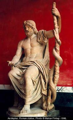 Asclepius was a deity of healing among the ancient Greeks. A son of Apollo, he was cut from his mother's dead body on her funeral pyre by. Greek And Roman Mythology, Greek Gods And Goddesses, Greek History, Art History, Ancient Art, Ancient History, Art Romain, Roman Gods, Greek Culture