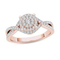 1/2 CT. T.W. Composite Diamond Frame Crossover Engagement Ring in 14K Rose Gold - Save on Select Styles - Zales