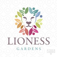 Fresh creative logo design of a lion created with in the colourful leaf design.