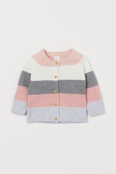 Color-block knit cardigan in soft cotton with stripes knit in various stitches for textured effect. Buttons at front long raglan sleeves and ribbing at neckline cuffs and hem. Cotton Cardigan, Baby Cardigan, Knit Cardigan, Baby Boy Knitting Patterns, Baby Knitting, Girls Summer Outfits, Girl Outfits, Girls Clothes Shops, Summer Cardigan