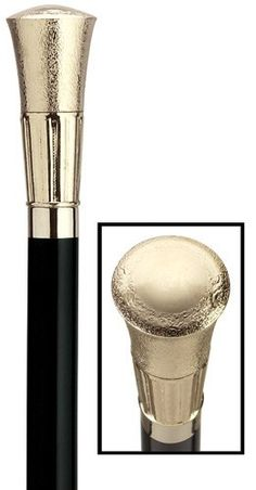 Men's Formal Embossed Cap - Gold Cane Formal cane with embossed 3 1/4 inch high gold tone cap of high impact plastic mounted stylishly on a black hard wood shaft. The shaft is 36 inches long and taper