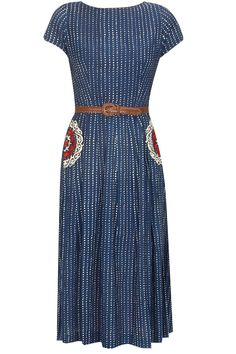 Navy blue thread embroidered jumsuit with brown leather belt available only at…