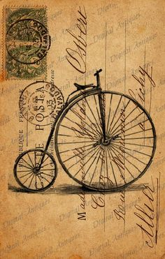 Vintage Bicycle Post Cards Sepia Image Collage Sheet. Etsy