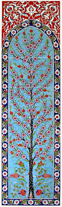 Tree of Life ~ ceramic Turkish tile panel, displaying the natural beauty of Traditional Iznik Art.