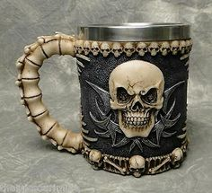 Nuevo ~ diabólicos 3-d Skull & Bones Pichel de taza de café Cerveza Pirata Gótico