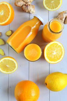 Multivitamin Immun – Booster | Ingwer Shot Healthy Juice Recipes, Healthy Juices, Detox Recipes, Healthy Smoothies, Smoothie Recipes, Drink Recipes, Healthy Food, Natural Detox Drinks, Fat Burning Detox Drinks